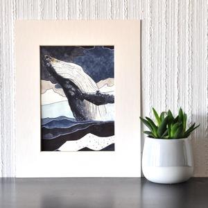 Hosszúszárnyú bálna - ecsetfilc festmény (nyomat), Művészet, Akvarell, Festmény, Festészet, Meska