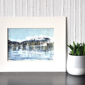 Bledi-tó - ecsetfilc festmény (nyomat), Akvarell, Festmény, Művészet, Festészet, Bledi-tó - művészeti nyomat 190g-os papíron az eredeti ecsetfilc festmény alapján (giclée technikáva..., Meska