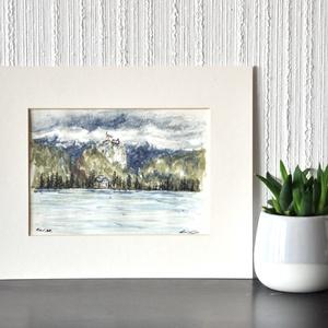 Bledi kastély - ecsetfilc festmény (nyomat), Művészet, Akvarell, Festmény, Festészet, Meska