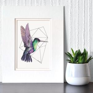 Geometrikus kolibri - ecsetfilc festmény (nyomat), Otthon & lakás, Képzőművészet, Festmény, Akvarell, Festészet, Geometrikus kolibri  - művészeti nyomat 190g-os papíron az eredeti ecsetfilc festmény alapján (giclé..., Meska
