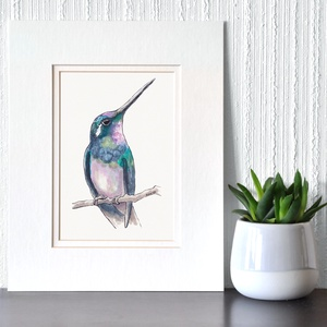 Hosszúcsőrű kolibri - ecsetfilc festmény (nyomat), Otthon & lakás, Képzőművészet, Festmény, Akvarell, Festészet, Hosszúcsőrű kolibri  - művészeti nyomat 190g-os papíron az eredeti ecsetfilc festmény alapján (giclé..., Meska