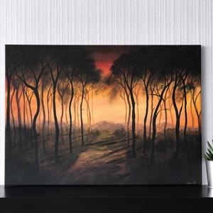 Narancs erdő - akril vászonfestmény (nyomat), Otthon & lakás, Képzőművészet, Festmény, Akril, Festészet, Narancs erdő  - művészeti nyomat 190g-os papíron az eredeti akril vászonfestmény alapján (giclée tec..., Meska