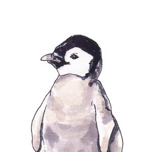 Pingvinek - ecsetfilc festmény (nyomat) - művészet - festmény - akvarell - Meska.hu