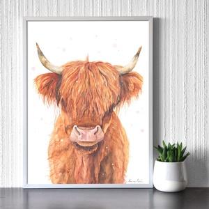 Skót felföldi marha  - akvarell festmény (nyomat), Művészi nyomat, Művészet, Festészet, Skót felföldi marha - művészeti nyomat 190g-os papíron az eredeti akvarell festmény alapján (giclée ..., Meska