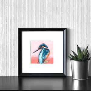Jégmadár - ecsetfilc festmény (nyomat), Művészet, Akvarell, Festmény, Festészet, Meska
