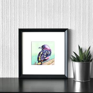 Rózsásfejű ricsóka (madár) - ecsetfilc festmény (nyomat), Művészet, Akvarell, Festmény, Festészet, Meska