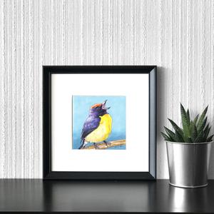 Trópusi pinty - ecsetfilc festmény (nyomat), Művészet, Akvarell, Festmény, Festészet, Meska