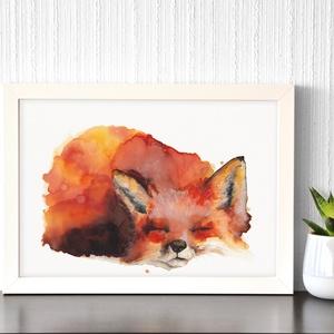 Alvó róka  - akvarell festmény (nyomat), Otthon & Lakás, Dekoráció, Kép & Falikép, Festészet, Meska