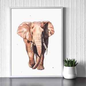 Elefántbika  - művészeti nyomat (az eredeti akvarell festmény alapján), Művészet, Művészi nyomat, Festészet, Meska