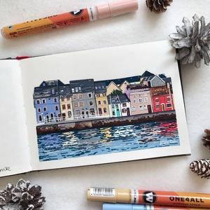 Galway - Művészeti nyomat (az eredeti akril filc rajz alapján), Művészet, Művészi nyomat, Festészet, Galway - művészeti nyomat 190g-os papíron az eredeti ecsetfilc festmény alapján (giclée technikával ..., Meska
