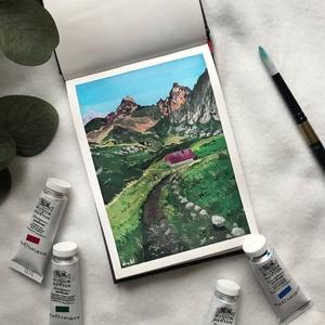 Alpesi hajnal - Művészeti nyomat (az eredeti gouache festmény alapján), Művészet, Művészi nyomat, Festészet, Alpesi hajnal - művészeti nyomat 190g-os papíron az eredeti gouache festmény alapján (giclée technik..., Meska