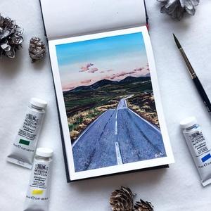 Roadtrip - Művészeti nyomat (az eredeti gouache festmény alapján), Művészet, Művészi nyomat, Festészet, Roadtrip - művészeti nyomat 190g-os papíron az eredeti gouache festmény alapján (giclée technikával ..., Meska