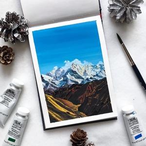Himalája - Művészeti nyomat (az eredeti gouache festmény alapján), Művészet, Művészi nyomat, Festészet, Himalája - művészeti nyomat 190g-os papíron az eredeti gouache festmény alapján (giclée technikával ..., Meska