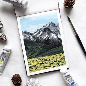 A völgy - Művészeti nyomat (az eredeti gouache festmény alapján), Művészet, Művészi nyomat, Festészet, Meska