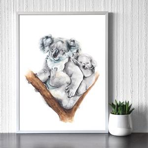 Koalák - művészeti nyomat (az eredeti akvarell festmény alapján), Otthon & Lakás, Dekoráció, Kép & Falikép, Festészet, Meska