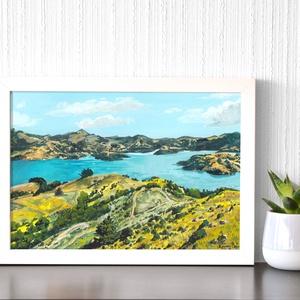Új-Zéland - Művészeti nyomat (az eredeti akvarell festmény alapján), Művészet, Művészi nyomat, Festészet, Meska
