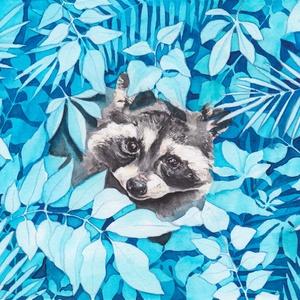 Mosómedve (állatok a bozótban sorozat) - Művészeti nyomat (az eredeti akvarell festmény alapján) - művészet - művészi nyomat - Meska.hu