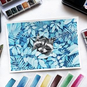 Mosómedve (állatok a bozótban sorozat) - Művészeti nyomat (az eredeti akvarell festmény alapján), Művészet, Művészi nyomat, Festészet, Mosómedve (állatok a bozótban sorozat)- művészeti nyomat 190g-os papíron az eredeti akvarell festmén..., Meska