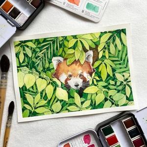 Vöröspanda (állatok a bozótban sorozat) - Művészeti nyomat (az eredeti akvarell festmény alapján), Művészet, Művészi nyomat, Festészet, Meska