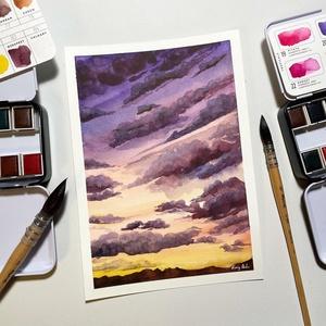 Felhők - Művészeti nyomat (az eredeti akvarell festmény alapján), Művészet, Művészi nyomat, Festészet, Meska