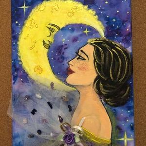 A Hold érintése, Művészet, Festmény, Akril, Festészet, A Hold ragyogással teli misztikuma ha megérint, lelked átlényegül és fennkölt tisztasággal telik meg..., Meska