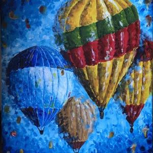 Utazás, Művészet, Festmény, Utazásra hívnak ezek a hőlégballonok! Tarts velük, és szeld át a szebbnél szebb tájakat, miközben a ..., Meska