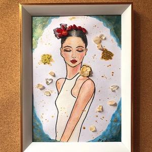 Korall koszorú, Művészet, Festmény, Akril, Egyedi, akrillal festett kép, melyet ásványok tesznek még különlegesebbé. Ez a bájos fiatal nő, csak..., Meska
