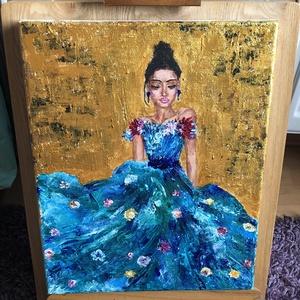 Várakozás, Művészet, Festmény, Akril, Színekben gazdag, vászonra festett akril festmény. Elmerengve, ruhája tengerében várakozik a nő. Kir..., Meska