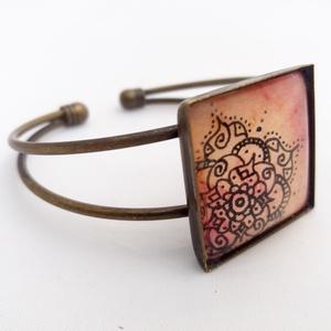 Kézzel festett MANDALA VIRÁG ÉKSZER SZETT (gyűrű, nyaklánc, karkötő) - Hordj magadon festményt! (DorczyArt) - Meska.hu