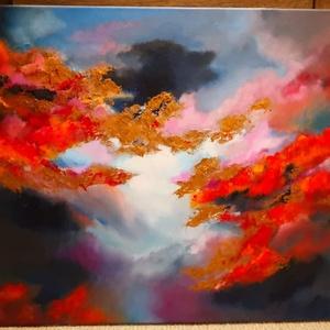 Aranyló égbolt festmény , Művészet, Festmény, Olajfestmény, Festészet, Eladásra kínálom 70x50cm nagyságú olajjal festett feszített vászonra lévő aranyló égbolt című festmé..., Meska
