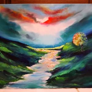 Édes álom.árnyék és fény. , Művészet, Festmény, Olajfestmény, Festészet, Eladásra kínálom, modern félig absztrakt félig tájkép jellegű erős szinatmenettel rendelkező festmén..., Meska