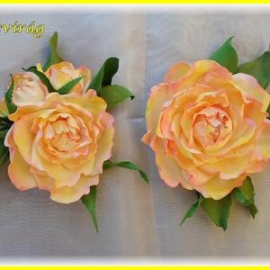 Peace rózsa szett  dekorgumi, Csokor & Virágdísz, Dekoráció, Otthon & Lakás, Mindenmás, Élethű rózsa kitűző bármilyen alkalomra nagyon elegáns.\nRózsa átmérője 11cm + levél\nFelszerelvényezv..., Meska