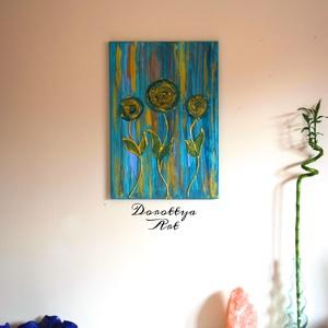 Storm, Otthon & lakás, Dekoráció, Kép, Képzőművészet, Festmény, Akril, Festészet, Méret 38x55\nViharban lévő virágok, éppen egy viharos napon\nalkottam ezt a képet. Erőteljes mégis kel..., Meska