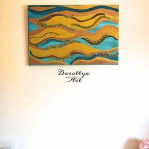 SeaSide(Eladva), Otthon & lakás, Dekoráció, Képzőművészet, Kép, Festmény, Akril, Napi festmény, kép, Festészet, Méret: 40x60\nTengerpartot készitettem abstact stílusban szép bronz és arany színű kövekkel díszítve ..., Meska