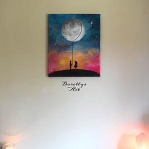 Moon Child (Eladva), Otthon & lakás, Dekoráció, Kép, Képzőművészet, Festmény, Festészet, Méret: 46x38\nIgazán sokat mondó kép kellemes universe hatás miatt. Romantikus, szív és lélek kép.\nAj..., Meska