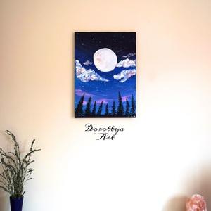 Full Moon, Otthon & lakás, Dekoráció, Kép, Képzőművészet, Festmény, Akril, Napi festmény, kép, Festészet, Ez a festmény egy kellemes estét ábrázol az erdőben, nyugodt tücsök ciripelés kíséretével.\nAki szere..., Meska