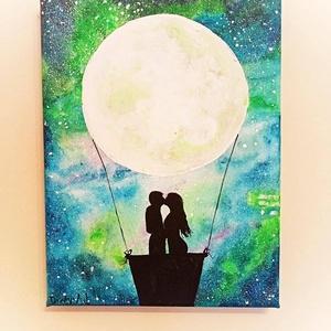 Love, Művészet, Festmény, Akril, Festészet, Kedves kis kép egyedileg megfestve\nMéret: 18x24, Meska