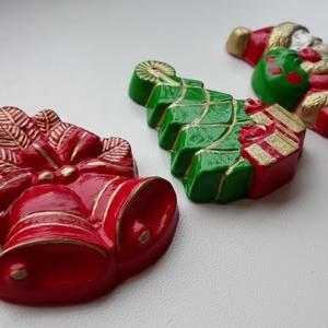 Klasszikus karácsonyi dísz szett, Karácsony & Mikulás, Karácsonyi dekoráció, Festett tárgyak, Modellgipszből kiöntött, kézzel készített és festett gyöngyörű karácsonyi díszek, melyek tökéletesek..., Meska