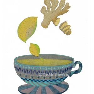 Varázslatos tea I.; Citrom, gyömbér - illusztráció, print, Művészet, Grafika & Illusztráció, Fotó, grafika, rajz, illusztráció, Jó minőségű digitális nyomat 250 g-os matt műnyomó papírra nyomtatva. A mérete A4-es, 21*30 cm, ekko..., Meska