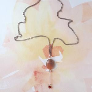 Achát Y nyaklánc, Ékszer, Nyaklánc, Y nyaklánc, Ékszerkészítés, Borostyán és barna színekből állítottam össze ezt a nyakláncot. A medál 1,3 cm széles, a lánctól lef..., Meska