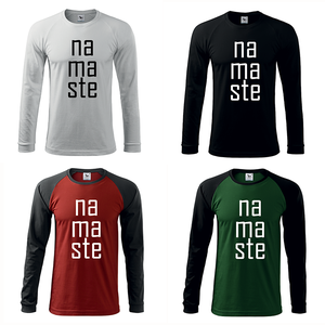 Férfi Namaste hosszú ujjú póló, Jóga, OM, Ohm , yoga (DrasiShop) - Meska.hu