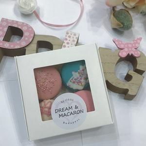 4you MACARON box (4 db-os), Élelmiszer, Édesség, A képen látható ablakos papír MACARON box 4 darab, mandulalisztből készített macaronból áll (2 külön..., Meska