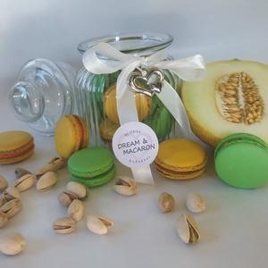 Macaron üvegben ♥♥, Élelmiszer, Édesség, 11 db MACARON romantikus díszüvegbe zárva. A MACARONOK keverékmentes mandulalisztből készülnek és 3 ..., Meska