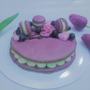 Óriás MACARON torta ♥, Élelmiszer, Édesség, Ez a különleges és látványos, ízélményben gazdag 15 cm-es óriás MACARON torta mandulalisztből készít..., Meska