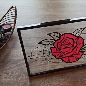 Rózsás asztali kép, Otthon & lakás, Dekoráció, Kép, Dísz, Lakberendezés, Asztaldísz, Papírművészet, 31 cm x 21 cm-es műanyag képkeret, melyben két üveglap között, kézzel vágott papírkép van elhelyezve..., Meska