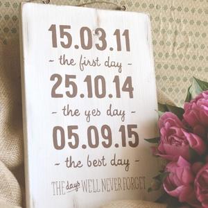 Életem fontos dátumai _ esküvő, Dekoráció, Esküvő, Kép, Esküvői dekoráció, Festett tárgyak, Famegmunkálás, Igazi, kedves ajándék eljegyzése, esküvőre, vagy saját magunknak.  Fotózáskor is használhatjuk kell..., Meska