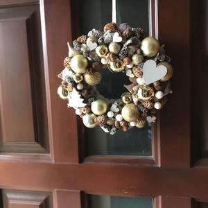 Arany-adventi ajtódísz, Karácsony & Mikulás, Adventi koszorú, Virágkötés, Átmérője 22 cm, Meska