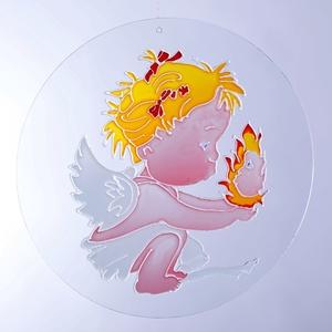 Angyalka, Dekoráció, Otthon & lakás, Dísz, Festészet, Üvegművészet, Angyalka 30 cm csiszolt üveglapra festett \n\nEz a picurka angyalka tökéletes dísze lehet gyermeke szo..., Meska