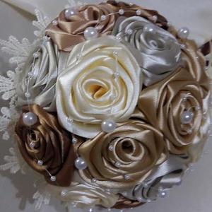 Örök csokor, Ballagás, Ünnepi dekoráció, Dekoráció, Otthon & lakás, Esküvő, Esküvői csokor, Virágkötés, Varrás, Barna-bézs-szürke-ekrü színű selyemcsokor \nNagyon kedvelt divatos harmonizáló színekkel készült csod..., Meska