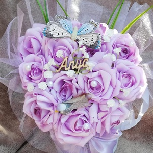 Anyáknapi virágdoboz,halványlila habrózsából, Díszdoboz, Dekoráció, Otthon & Lakás, Mindenmás, Virágkötés, Virágdoboz ,lila rózsákból,bármilyen alkalomra!Lehet rá kérni feliratot.Boldog születésnapot,névnapo..., Meska